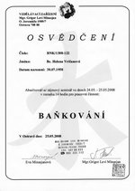 Certifikát Baňkování